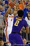 Florida Gators guard KeVaughn Allen with a three pointer during the first half as the Florida Gators defeat the LSU Tigers 68-62 at the Stephen C. O'Connell Center.  January 9th, 2016. Gator Country photo by David Bowie.