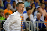 Florida Gators head coach Mike White during the first half as the Florida Gators defeat the LSU Tigers 68-62 at the Stephen C. O'Connell Center.  January 9th, 2016. Gator Country photo by David Bowie.
