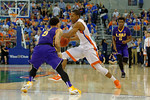 Florida Gators guard KeVaughn Allen drives toward the basket during the first half as the Florida Gators defeat the LSU Tigers 68-62 at the Stephen C. O'Connell Center.  January 9th, 2016. Gator Country photo by David Bowie.