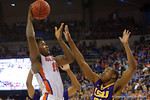 Florida Gators center John Egbunu leaps into the air and drains a shot to put the Gators up 65-62 during the second half as the Florida Gators defeat the LSU Tigers 68-62 at the Stephen C. O'Connell Center.  January 9th, 2016. Gator Country photo by David Bowie.