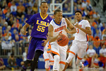 Florida Gators guard KeVaughn Allen drives to the basket during the second half as the Florida Gators defeat the LSU Tigers 68-62 at the Stephen C. O'Connell Center.  January 9th, 2016. Gator Country photo by David Bowie.