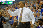 LSU tigers head coach Johnny Jones coaching up during the first half as the Florida Gators defeat the LSU Tigers 68-62 at the Stephen C. O'Connell Center.  January 9th, 2016. Gator Country photo by David Bowie.