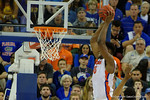 Florida Gators center John Egbunu dunking during the first half as the Florida Gators defeat the LSU Tigers 68-62 at the Stephen C. O'Connell Center.  January 9th, 2016. Gator Country photo by David Bowie.