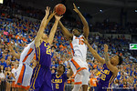 Florida Gators center John Egbunu battles for a rebound during the first half as the Florida Gators defeat the LSU Tigers 68-62 at the Stephen C. O'Connell Center.  January 9th, 2016. Gator Country photo by David Bowie.