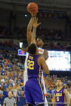 Florida Gators center John Egbunu turns and shoots during the first half as the Florida Gators defeat the LSU Tigers 68-62 at the Stephen C. O'Connell Center.  January 9th, 2016. Gator Country photo by David Bowie.