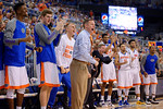 Florida Gators head coach Mike White coaching up the Gators during the second half as the University of Florida Gators win at home over the Vermont Catamounts 86-62.  Florida Gators vs Vermont Catamounts.  November 25th, 2015. Gator Country photo by David Bowie.