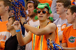 A Florida Gators fan cheers on during the second half as the University of Florida Gators win at home over the Vermont Catamounts 86-62.  Florida Gators vs Vermont Catamounts.  November 25th, 2015. Gator Country photo by David Bowie.