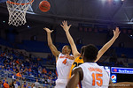 Florida Gators guard KeVaughn Allen throws the ball up towards the net during the first half as the University of Florida Gators win at home over the Vermont Catamounts 86-62.  Florida Gators vs Vermont Catamounts.  November 25th, 2015. Gator Country photo by David Bowie.