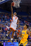 Florida Gators guard Kasey Hill with a fast break layup during the first half as the University of Florida Gators win at home over the Vermont Catamounts 86-62.  Florida Gators vs Vermont Catamounts.  November 25th, 2015. Gator Country photo by David Bowie.