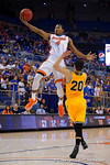 Florida Gators guard KeVaughn Allen flies toward the basket during the first half as the University of Florida Gators win at home over the Vermont Catamounts 86-62.  Florida Gators vs Vermont Catamounts.  November 25th, 2015. Gator Country photo by David Bowie.