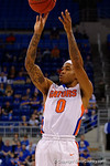 Florida Gators guard Kasey Hill drains a three pointer during the first half as the University of Florida Gators win at home over the Vermont Catamounts 86-62.  Florida Gators vs Vermont Catamounts.  November 25th, 2015. Gator Country photo by David Bowie.