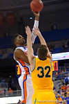 Florida Gators forward Kevarrius Hayes shooting during the second half as the University of Florida Gators win at home over the Vermont Catamounts 86-62.  Florida Gators vs Vermont Catamounts.  November 25th, 2015. Gator Country photo by David Bowie.