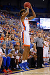 Florida Gators forward Devin Robinson drains a three pointer during the second half as the University of Florida Gators win at home over the Vermont Catamounts 86-62.  Florida Gators vs Vermont Catamounts.  November 25th, 2015. Gator Country photo by David Bowie.