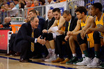 Vermont head coach John Becker coaches up his team during the first half as the University of Florida Gators win at home over the Vermont Catamounts 86-62.  Florida Gators vs Vermont Catamounts.  November 25th, 2015. Gator Country photo by David Bowie.
