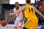 Florida Gators guard KeVaughn Allen dribbles up court during the second half as the University of Florida Gators win at home over the Vermont Catamounts 86-62.  Florida Gators vs Vermont Catamounts.  November 25th, 2015. Gator Country photo by David Bowie.