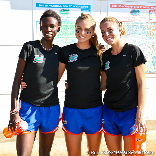 Florida runners Florence N'Getich, Genevive LaCaze, and Cory McGee after sweeping first, second, and third place at the Mountain Dew Invitational on Saturday, September 24th, 2011 at the Mark Bostick Golf Course in Gainesville, Fla. / Gator Country photo by Rob Foldy