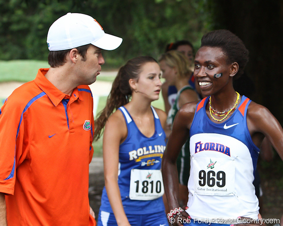 Florida cross country coach Todd Morgan talks with runner Florence N'Getich during the Mountain Dew Invitational on Saturday, September 24th, 2011 at the Mark Bostick Golf Course in Gainesville, Fla. / Gator Country photo by Rob Foldy
