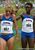 Florida runner Florence N'Getich congratulates teammate Genevive LaCaze  after finishing first and second at the Mountain Dew Invitational on Saturday, September 24th, 2011 at the Mark Bostick Golf Course in Gainesville, Fla. / Gator Country photo by Rob Foldy