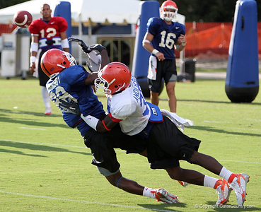 Photo by Tim Casey <br /> <br /> Freshman cornerback Markihe Anderson (37-Fort Myers, Fla.) breaks up a pass intended for freshman receiver Jamar Hornsby (88-Jacksonville, Fla.) during the University of Florida football team's third day of summer practice on Tuesday, August 7, 2006 in Gainesville, Fla.