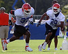 Photo by Tim Casey <br /> <br /> Junior cornerback Ryan Smith (28) covers Markihe Anderson (37) during the University of Florida football team's third day of summer practice on Tuesday, August 7, 2006 in Gainesville, Fla. It was Smith's first practice as a Florida Gator since transferring from Utah.