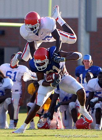 Photo by Tim Casey <br /> <br /> ...during the Gators' fifth day of summer practice on Friday, August 11, 2006 in Gainesville, Fla.<br /> <br /> © Copyright 2006 Timothy M. Casey, All Rights Reserved.