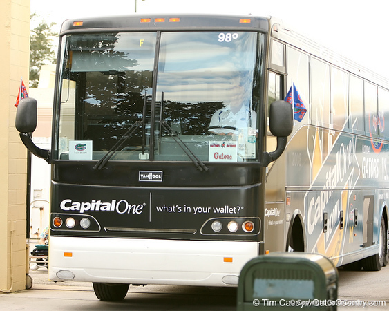 photo by Tim Casey<br /> <br /> The Florida team bus rolls out after the Gators practiced on Sunday, December 30, 2007 at Disney's Wide World of Sports Complex in Lake Buena Vista, Fla.