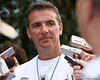photo by Tim Casey<br /> <br /> UF head coach Urban Meyer speaks with reporters after the Gators practiced on Sunday, December 30, 2007 at Disney's Wide World of Sports Complex in Lake Buena Vista, Fla.