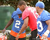 photo by Tim Casey<br /> <br /> UF freshman quarterback Cameron Newton and junior running back Markus Manson after the Gators practiced on Sunday, December 30, 2007 at Disney's Wide World of Sports Complex in Lake Buena Vista, Fla.