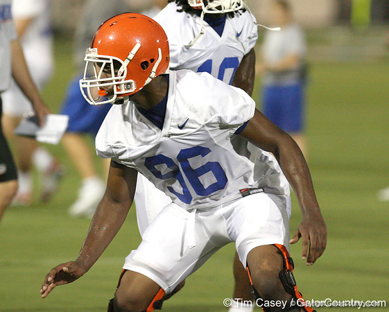 080804_GreenWilliam_1831_TCasey<br /> <br /> photo by Tim Casey<br /> <br /> during the Florida Gators' first day of fall football practice on Monday, August 4, 2008 at the Sanders football practice fields in Gainesville, Fla. Only freshman participated in the morning session.