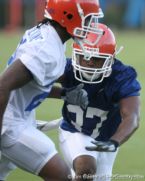080804_BrownVincent_1915_TCasey<br /> <br /> photo by Tim Casey<br /> <br /> during the Florida Gators' first day of fall football practice on Monday, August 4, 2008 at the Sanders football practice fields in Gainesville, Fla. Only freshman participated in the morning session.