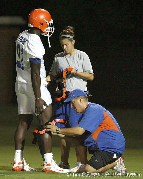 080804_OkineEarl_1761_TCasey<br /> <br /> photo by Tim Casey<br /> <br /> during the Florida Gators' first day of fall football practice on Monday, August 4, 2008 at the Sanders football practice fields in Gainesville, Fla. Only freshman participated in the morning session.