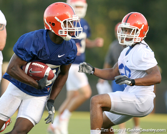 080804_HammondJrFrankie_2031_TCasey<br /> <br /> photo by Tim Casey<br /> <br /> during the Florida Gators' first day of fall football practice on Monday, August 4, 2008 at the Sanders football practice fields in Gainesville, Fla. Only freshman participated in the morning session.
