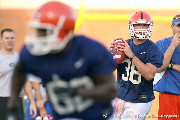 080804_QB38_1935_TCasey<br /> <br /> photo by Tim Casey<br /> <br /> during the Florida Gators' first day of fall football practice on Monday, August 4, 2008 at the Sanders football practice fields in Gainesville, Fla. Only freshman participated in the morning session.