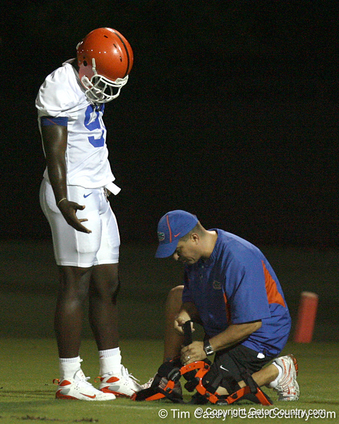 080804_OkineEarl_1758_TCasey<br /> <br /> photo by Tim Casey<br /> <br /> during the Florida Gators' first day of fall football practice on Monday, August 4, 2008 at the Sanders football practice fields in Gainesville, Fla. Only freshman participated in the morning session.