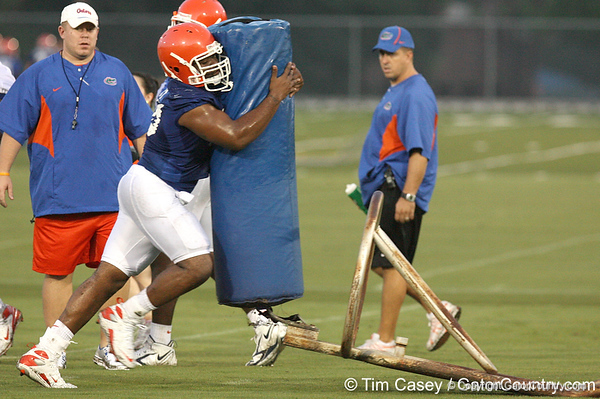 080804_AutryJamael_1864_TCasey<br /> <br /> photo by Tim Casey<br /> <br /> during the Florida Gators' first day of fall football practice on Monday, August 4, 2008 at the Sanders football practice fields in Gainesville, Fla. Only freshman participated in the morning session.