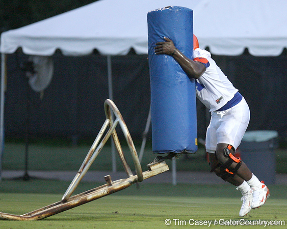 080804_OkineEarl_1845_TCasey<br /> <br /> photo by Tim Casey<br /> <br /> during the Florida Gators' first day of fall football practice on Monday, August 4, 2008 at the Sanders football practice fields in Gainesville, Fla. Only freshman participated in the morning session.