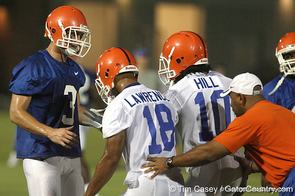 080804_FrazierBrandon_1802_TCasey<br /> <br /> photo by Tim Casey<br /> <br /> during the Florida Gators' first day of fall football practice on Monday, August 4, 2008 at the Sanders football practice fields in Gainesville, Fla. Only freshman participated in the morning session.