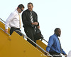 photo by Tim Casey<br /> <br /> Florida redshirt senior Butch Rowley and Florida junior wide receiver Carl Moore disembark from the team plane after the Gators arrived for the BCS Championship Game on Friday, January 2, 2009 at Fort Lauderdale-Hollywood International Airport in Fort Lauderdale, Fla.