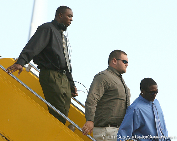 photo by Tim Casey<br /> <br /> Florida freshman linebacker Lerentee McCray disembarks from the team plane after the Gators arrived for the BCS Championship Game on Friday, January 2, 2009 at Fort Lauderdale-Hollywood International Airport in Fort Lauderdale, Fla.