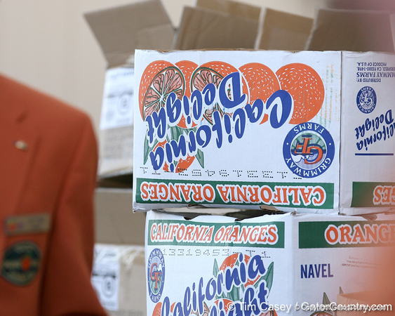 photo by Tim Casey<br /> <br /> Crates of oranges sit on hand before the Gators arrived for the BCS Championship Game on Friday, January 2, 2009 at Fort Lauderdale-Hollywood International Airport in Fort Lauderdale, Fla.