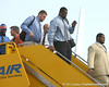 photo by Tim Casey<br /> <br /> Florida redshirt sophomore offensive lineman Marcus Gilbert disembarks from the team plane after the Gators arrived for the BCS Championship Game on Friday, January 2, 2009 at Fort Lauderdale-Hollywood International Airport in Fort Lauderdale, Fla.