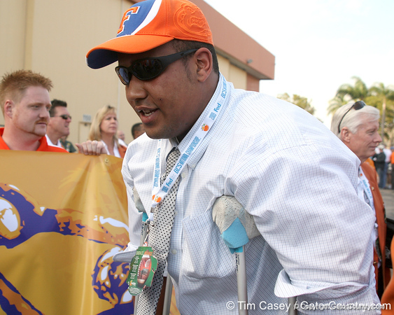 photo by Tim Casey<br /> <br />  walks to the team bus after the Gators arrived for the BCS Championship Game on Friday, January 2, 2009 at Fort Lauderdale-Hollywood International Airport in Fort Lauderdale, Fla.