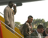 photo by Tim Casey<br /> <br /> Florida sophomore defensive back Joe Haden disembarks from the team plane after the Gators arrived for the BCS Championship Game on Friday, January 2, 2009 at Fort Lauderdale-Hollywood International Airport in Fort Lauderdale, Fla.