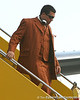 photo by Tim Casey<br /> <br /> Florida sophomore defensive end Justin Trattou disembarks from the team plane after the Gators arrived for the BCS Championship Game on Friday, January 2, 2009 at Fort Lauderdale-Hollywood International Airport in Fort Lauderdale, Fla.