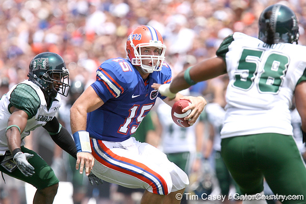 photo by Tim Casey<br /> <br /> Florida junior quarterback Tim Tebow runs during the first half of the Gators' season opener against the Hawaii Warriors on Saturday, August 30, 2008 at Ben Hill Griffin Stadium in Gainesville, Fla. Florida led 28-0 at halftime.