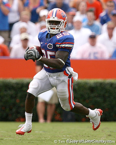 photo by Tim Casey<br /> <br /> Florida running back Brandon James returns a punt during the second half of the Gators' 56-10 win against the Hawaii Warriors on Saturday, August 30, 2008 at Ben Hill Griffin Stadium in Gainesville, Fla. Florida led 28-0 at halftime.