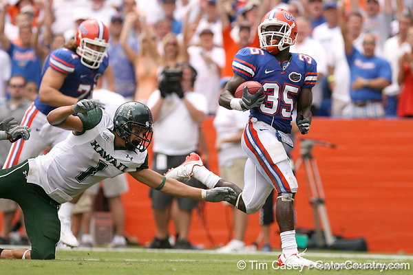 photo by Tim Casey<br /> <br /> Florida sophomore safety Ahmad Black returns an interception for a touchdown during the second half of the Gators' 56-10 win against the Hawaii Warriors on Saturday, August 30, 2008 at Ben Hill Griffin Stadium in Gainesville, Fla. Florida led 28-0 at halftime.