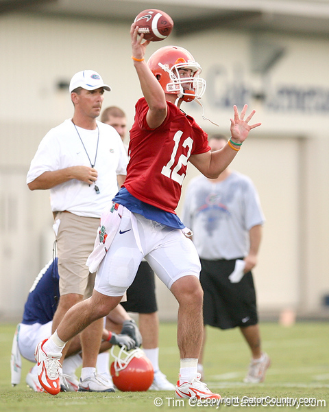 079_080804_BrantleyJohn_2423_TCasey<br /> <br /> photo by Tim Casey<br /> <br /> during the Florida Gators' first day of fall football practice on Monday, August 4, 2008 at the Sanders football practice fields in Gainesville, Fla.