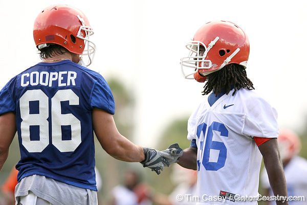 108_080804_CooperRileyJenkinsMoses_2520_TCasey<br /> <br /> photo by Tim Casey<br /> <br /> during the Florida Gators' first day of fall football practice on Monday, August 4, 2008 at the Sanders football practice fields in Gainesville, Fla.