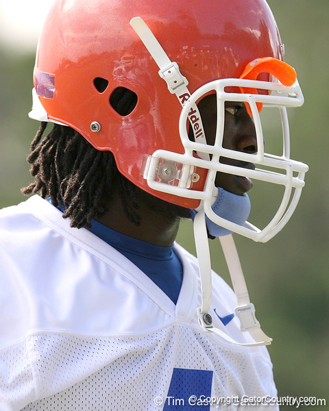036_080804_PierreLouisWondy_2305_TCasey<br /> <br /> photo by Tim Casey<br /> <br /> during the Florida Gators' first day of fall football practice on Monday, August 4, 2008 at the Sanders football practice fields in Gainesville, Fla.